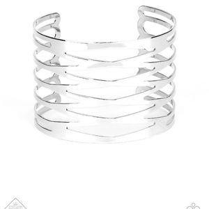 Keep Them On the Edge Silver Wide Cuff Bracelet